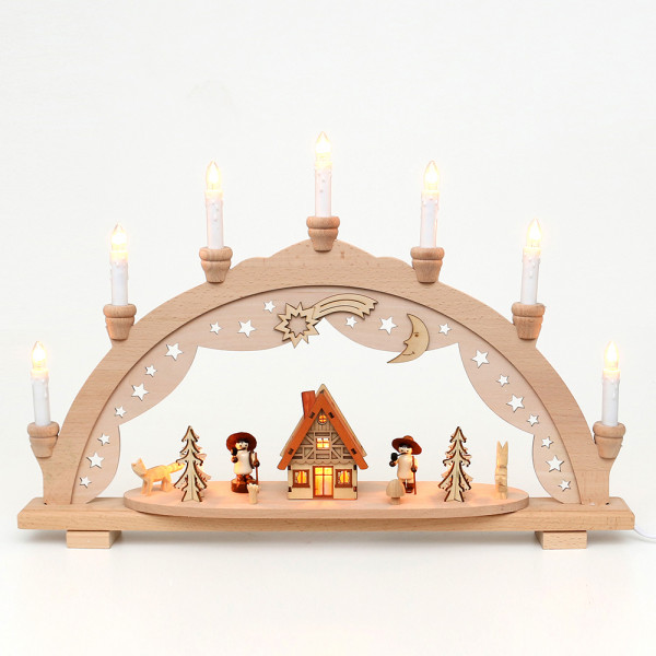 Holz Schwibbogen Waldidyll innen beleuchtet (Premiumholz) 57 x 9 x 38 cm 230 V Kabel, 10 flammig, SPK