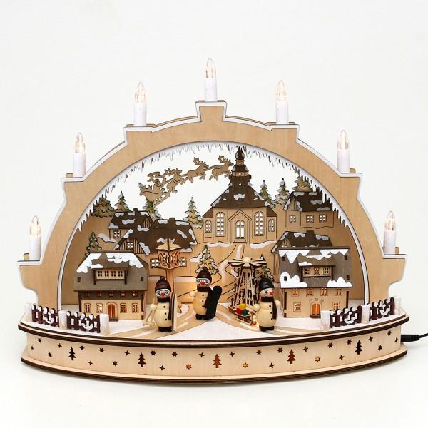 Holz Schwibbogen Seiffener Weihnacht mit drehender Pyramide & Schneemannfiguren (Laserholz) 45 x 15 x 34 cm Batteriebetrieb AA, inkl. Adapter 4,5 V, LED, Bewegung