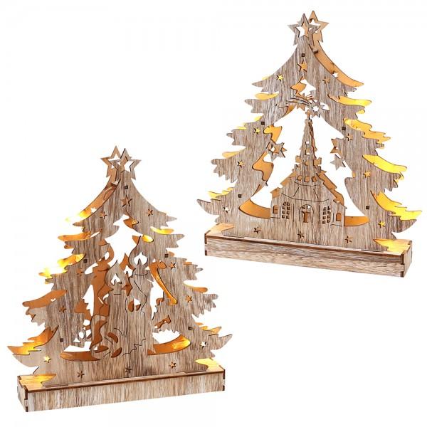 Holz Lichterecke Seiffener Kirche/Kerzen (Laserholz) 2-fach sort. 24 x 4,5 x 21,5 cm Batteriebetrieb AAA, LED im Set