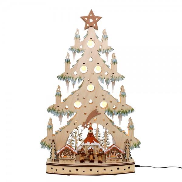 Holz Lichterecke mit Sockel Seiffener Weihnachtsmarkt verschneit XXL mit Kurrende-Figuren (Laserholz) 40 x 10 x 64 cm Batteriebetrieb AA, inkl. Adapter 4,5 V, LED, XXL
