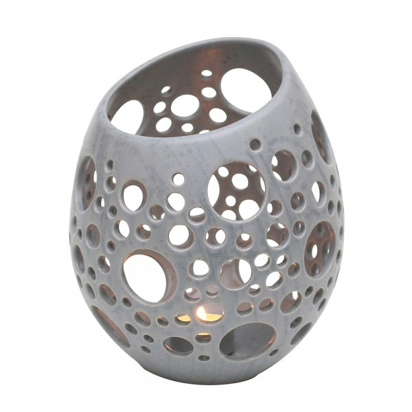 Keramik Windlicht-Ei mit Löchern, Grau 16,5 x 16,5 x 20,5 cm Ø 16,5 cm