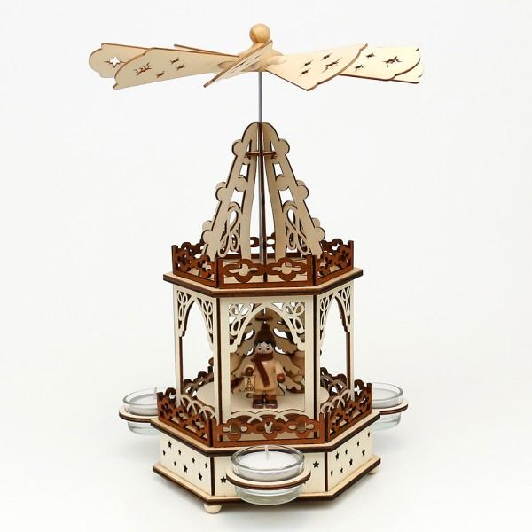 Holz Teelichtpyramide Laternenkinder 2 Etagen (Laserholz) für 3 Teelichte 16,5 x 14,5 x 33 cm
