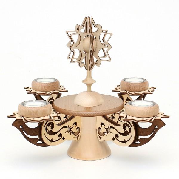 Holz Adventsleuchter mit Stern, leer zum Selberbestücken, natur/braun, edel verziert, für 4 Teelichte 28 x 28 x 20 cm