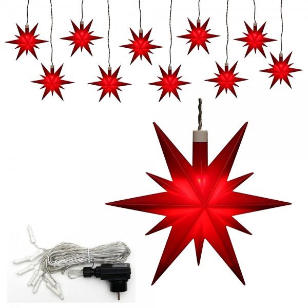 10er Set Kunststoff Weihnachtsstern Farbe rot 13,5 x 5,5 x 12 cm Ø 13 cm inkl. Adapter 4,5 V, LED, wetterfest/für außen geeignet