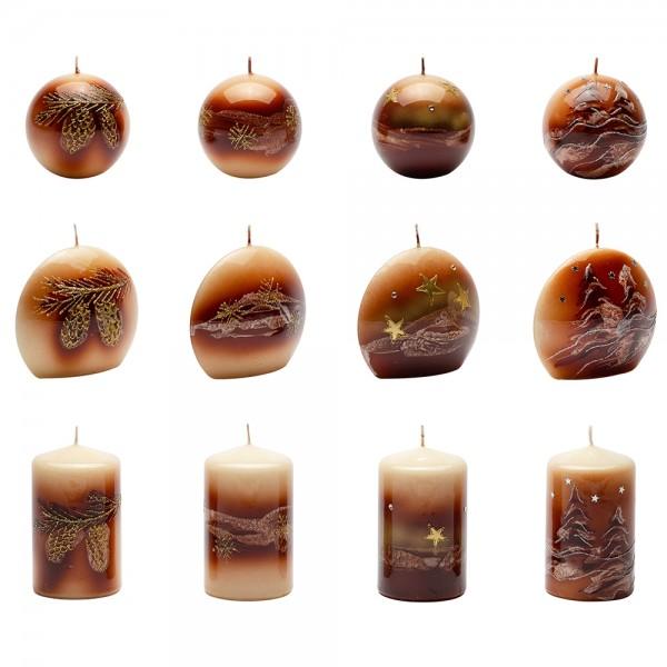 Kerzensortiment Weihnachtsglanz cognac (je 4 Stumpen 65 x110mm, Diskus 110 x100mm, Kugeln 80mm) 12-fach sort. im Set