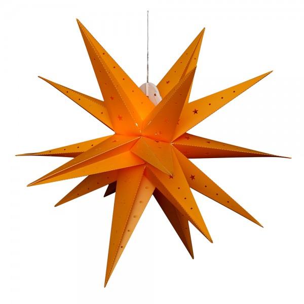 Kunststoff Falkensteiner Adventsstern 18 Spitzen zum Aufklappen, gelb 80 x 80 x 80 cm inkl. Adapter 4,5 V, LED, wetterfest/für außen geeignet