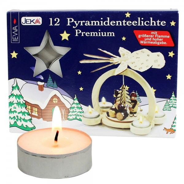 12er Set Pyramiden-Teelichte Spezial mit großer Flamme für Teelichtpyramiden entwickelt 4 x 4 x 1,7 cm