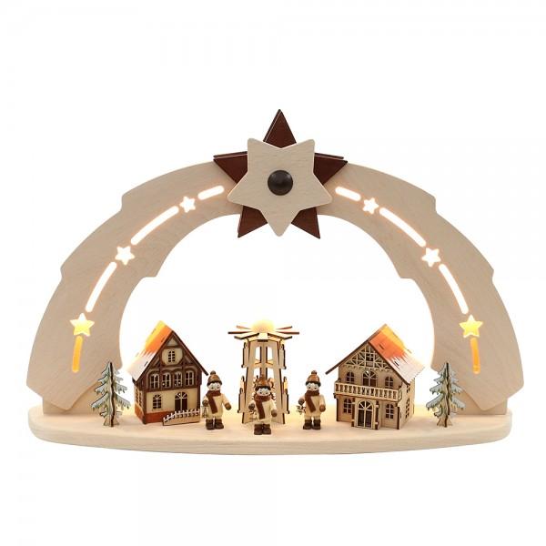 Holz Schwibbogen Pyramide/Häuser/Winterfiguren verschneit (Bogen innen beleuchtet) 50 x 11,5 x 33 cm 230 V Kabel, LED