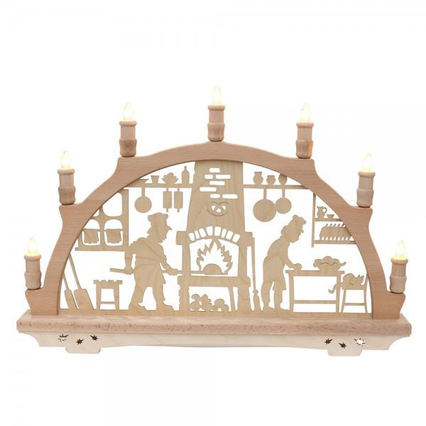 Holz Schwibbogen Weihnachtsbäckerei Made in Germany (mit Laserfuß) 57 x 6 x 38 cm 230 V Kabel, 7 flammig, SPK