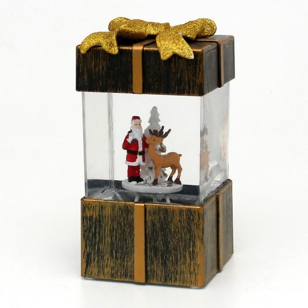 Acryl LED Geschenkbox, mit Weihnachtsmann, gold 10 x 9,5 x 18 cm Batteriebetrieb AA, Netzanschluss 5 V, LED, Glitterwirbel, Sound
