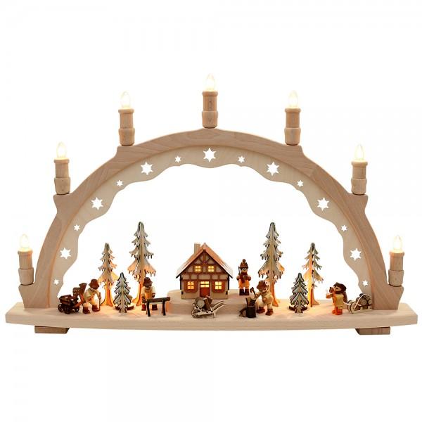 Holz Schwibbogen Waldarbeiter XL innen beleuchtet Made in Germany (mit VSG-Figuren) 66 x 11 x 40 cm 230 V Kabel, 10 flammig, SPK, XL