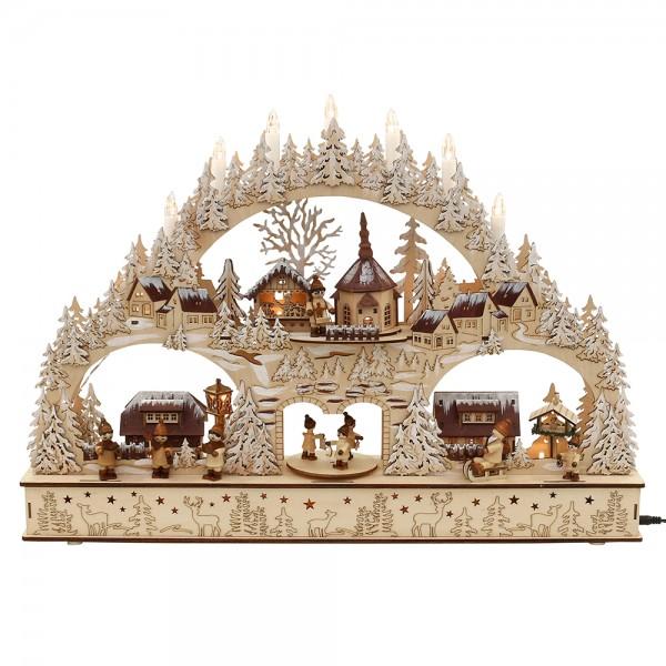 Holz Schwibbogen Winterstadt mit Winterfiguren (Rückseite verziert) (Laserholz) 60 x 10 x 43 cm Batteriebetrieb AA, inkl. Adapter 4,5 V, LED, Bewegung, Sound