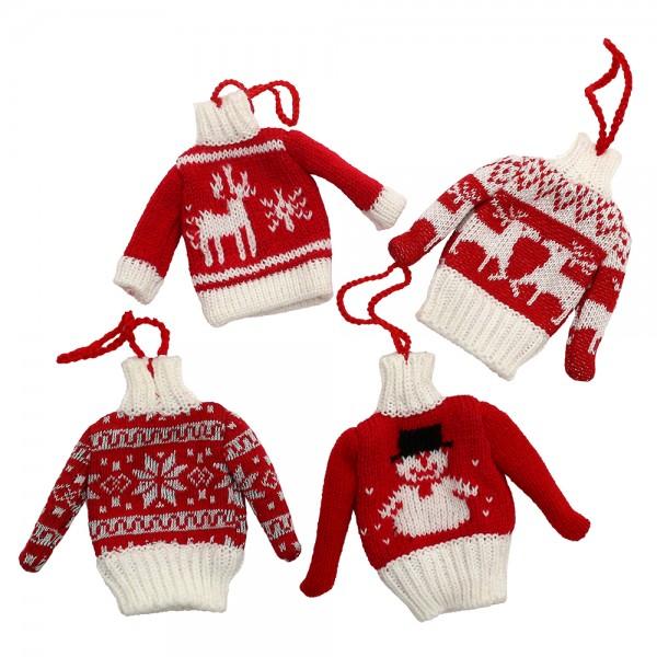 Textil Strick-Pullover Norweger-Design zum Anhängen 4-fach sort. 2 x 9 x 11 cm im Set
