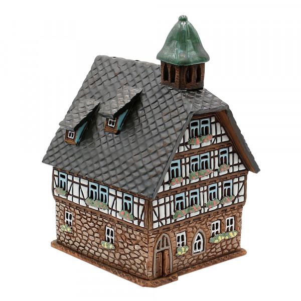 Keramik Licht-Duftölhaus (in Schornstein) Fachwerk mit Türmchen 23 x 14 x 16 cm
