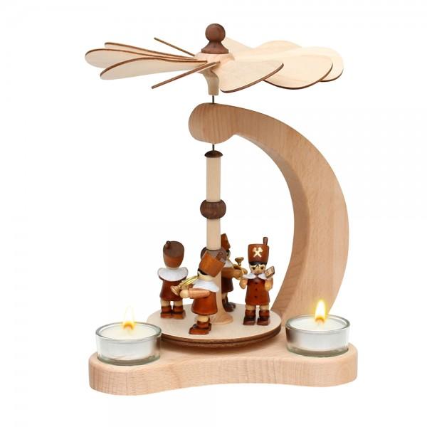 Holz Tischpyramide Bergleute für 3 Teelichte (Buchenholz) 14 x 18 x 24 cm