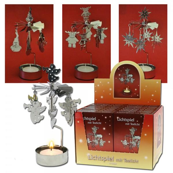 Metall Lichtspiel für Teelicht 4-fach sort. 12 x 2,5 x 17 cm im Set