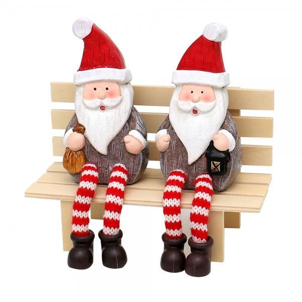 Keramik Kantensitzer Weihnachtsmann flach, mit Glitter 2-fach sort. 6,5 x 4 x 19 cm im Set