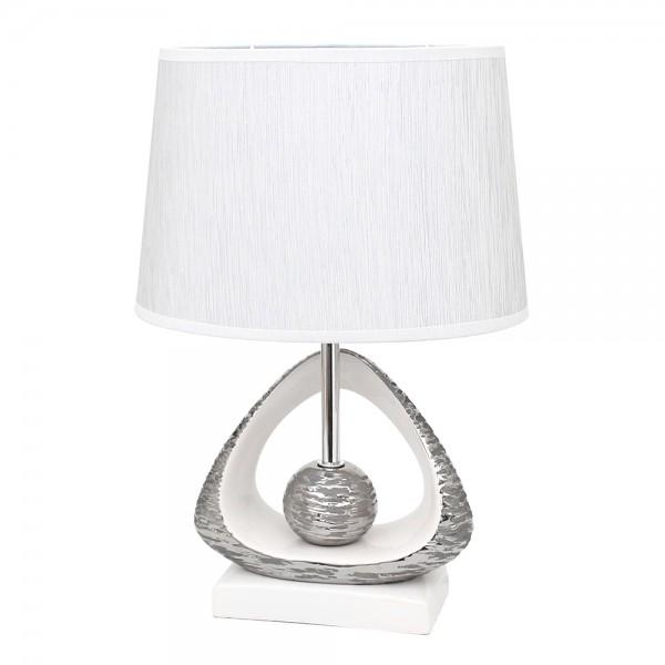 Keramik Tischlampe Elegance Dreieck mit Kugel, weiß/silber 20,5 x 8,5 x 41 cm 230 V Kabel, E27