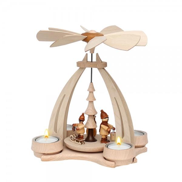 Holz Erzgebirgs-Tischpyramide Winterfütterung klein für 4 Teelichte 14 x 18 x 24 cm