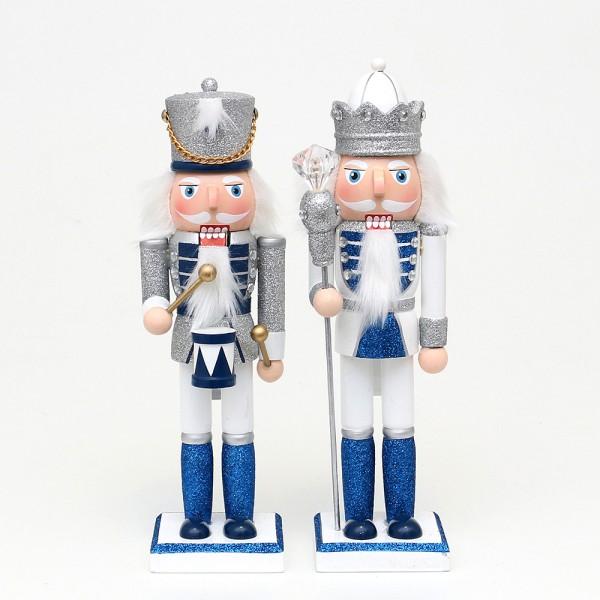 Holz Nussknacker König/Trommler mit Glitter, silber/weiß/blau 2-fach sort. 7,5 x 7 x 26 cm im Set