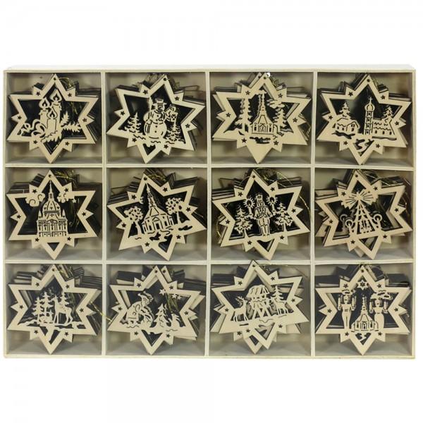 120er Set Holz Anhänger Stern mit Goldfaden, 12 Modelle sortiert in Holzsetzkasten(Laser) 7,5 x 8 cm
