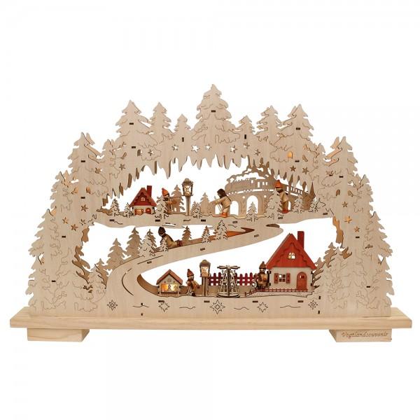 Holz Schwibbogen XXL Winterdorf mit Winterfiguren 78 x 9 x 50 cm inkl. Adapter 4,5 V, LED, XXL