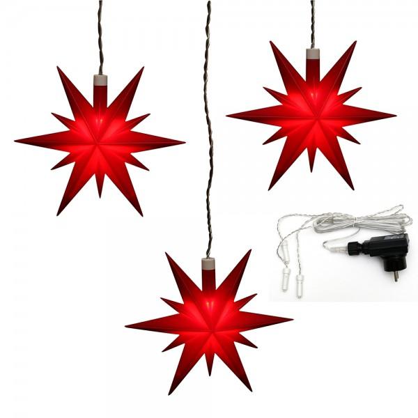 3er Set Plastik Weihnachtsstern Farbe rot 13,5 x 5,5 x 12 cm Ø 13 cm inkl. Adapter 4,5 V, LED, wetterfest/für außen geeignet