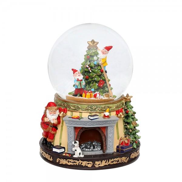Polyresin Schneekugel Santa am Kamin & Wichtel am Tannenbaum 15 x 15 x 18,5 cm Ø 11 cm Batteriebetrieb AA, LED, Glitterwirbel, Sound