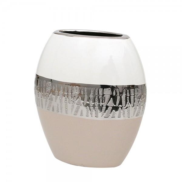 Keramik Vase Cappuccino oval silber/weiß 19,5 x 10 x 21,5 cm