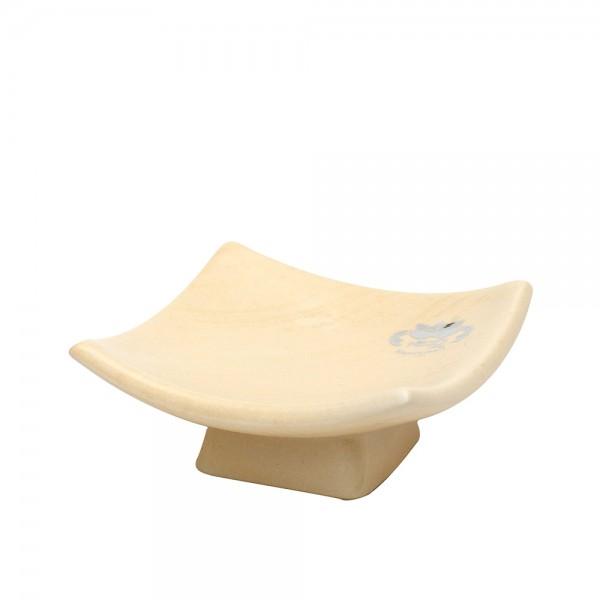 Keramik Schale auf Fuß eckig, Champagner 12 x 12 x 5 cm