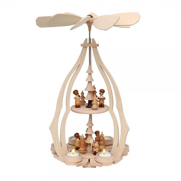 Holz Tischpyramide Weihnachtsbäckerei groß für 6 Teelichte 24 x 24 x 45 cm