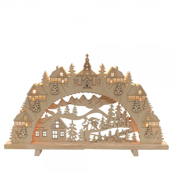 Holz Schwibbogen Waldhaus innen beleuchtet (Laserholz), natur 55 x 6 x 33 cm 230 V Kabel, 7 flammig, SPK