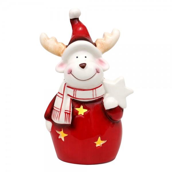 Dolomite Elch mit Weihnachtsstern, weiß/rot glasiert 10 x 6,6 x 16,6 cm LED