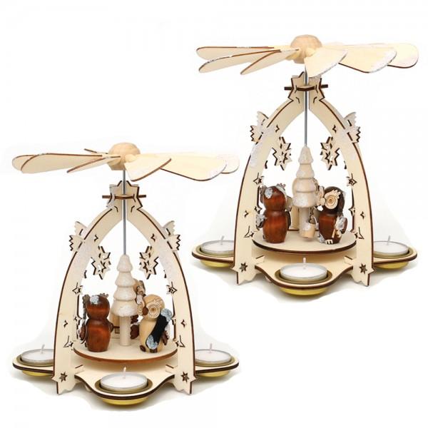Holz Teelichtpyramide mit Eulenfiguren (Laserholz) für 4 Teelichte 2-fach sort. 18 x 18 x 21 cm im Set
