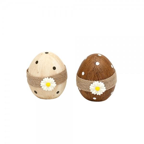 Keramik Deko-Ei mit Jute & Blume, natur/braun 2-fach sort. 5,5 x 6 x 8 cm im Set