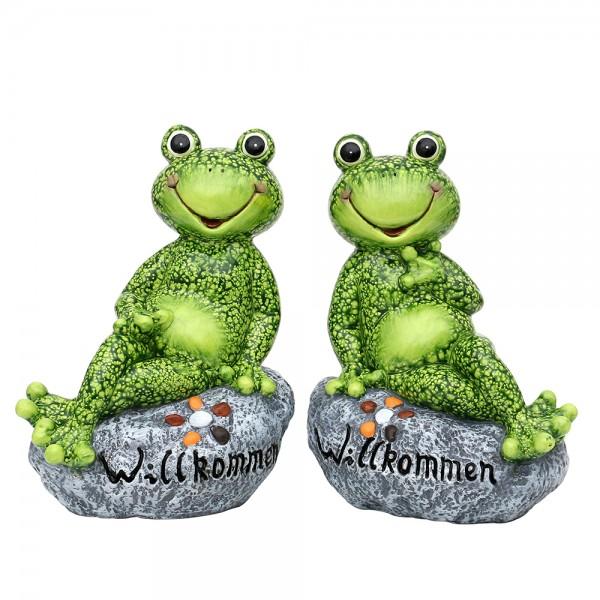 Keramik Frosch sitzend auf Stein Willkommen 2-fach sort. 21,6 x 14,3 x 28,3 cm im Set