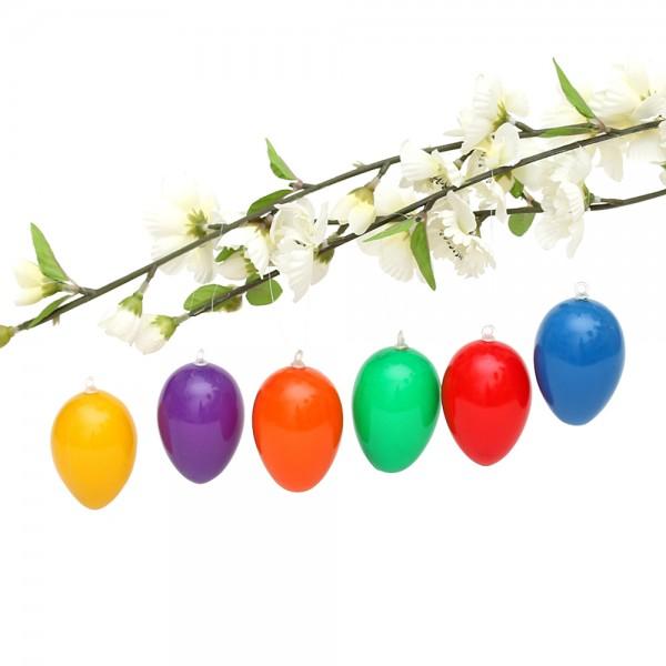 12er Set Plastik Eier mit Anhänger in kräftigen Farben, bunt 6-fach sort. 4 x 4 x 6 cm im Set