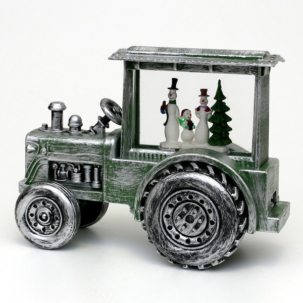 Acryl LED Traktor, mit Schneemannfamilie, grün / silver 30,5 x 13,5 x 22,5 cm Batteriebetrieb AA, Netzanschluss 5 V, LED, Glitterwirbel, Sound