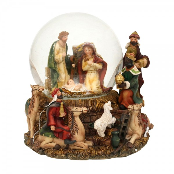 Polyresin Schneekugel Heilige Familie und die Heiligen drei Könige 14 x 13 x 15,5 cm Ø 10 cm Spielwerk Stille Nacht