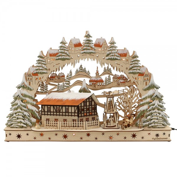 Holz Schwibbogen Fachwerkhaus mit bewegter Pyramide (Laserholz) 60 x 8 x 39 cm Batteriebetrieb AA, inkl. Adapter 4,5 V, LED, Bewegung
