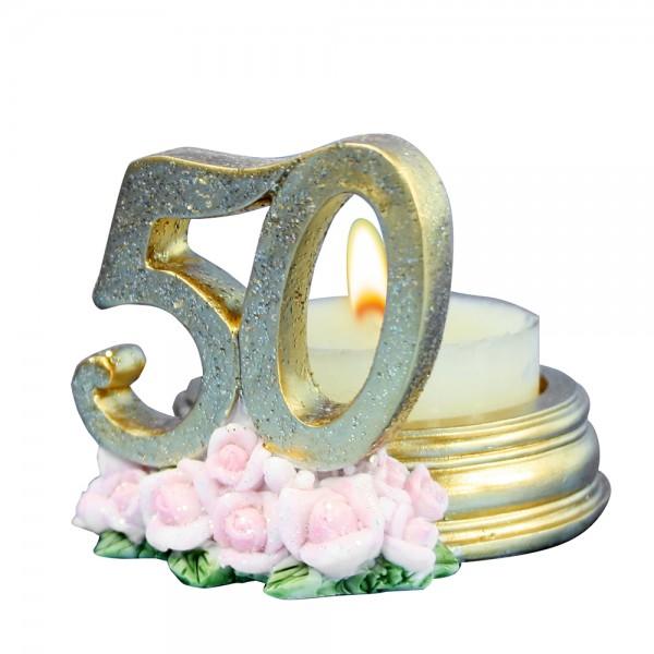 Polyresin Teelichthalter 50 Goldene Hochzeit 5 x 7 x 5 cm