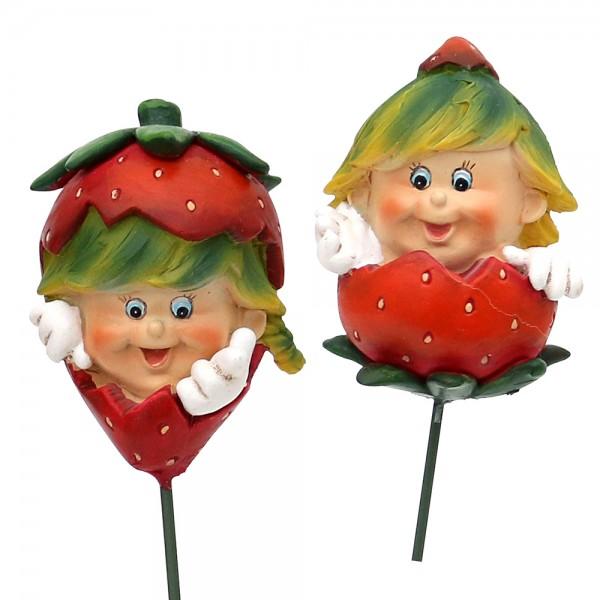 Polyresin Erdbeerkind Charlie mit Stick 2-fach sort. 4 x 4 x 25 cm im Set