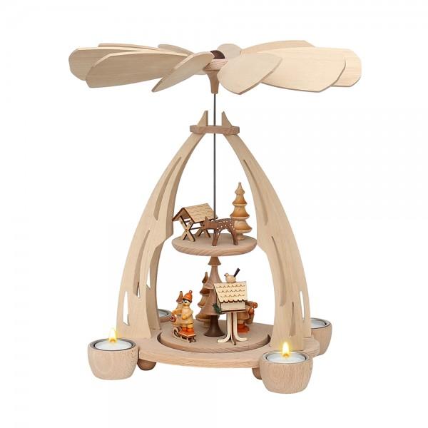 Holz Tischpyramide Futterkrippe/Vogelfütterung mittel für 4 Teelichte 20 x 24 x 35 cm