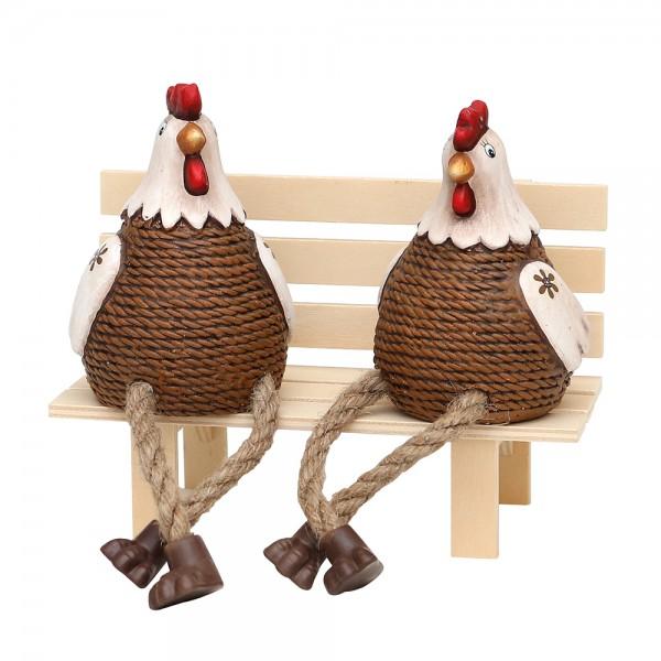 Keramik Hühner Kantensitzer, braun/creme 2-fach sort. 7,5 x 9,5 x 17 cm im Set