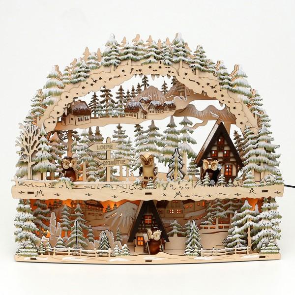 Holz Schwibbogen mit Bank Winterspaß mit Eulen-Figuren (Laserholz) 45 x 10,5 x 37 cm Batteriebetrieb AA, inkl. Adapter 4,5 V, LED