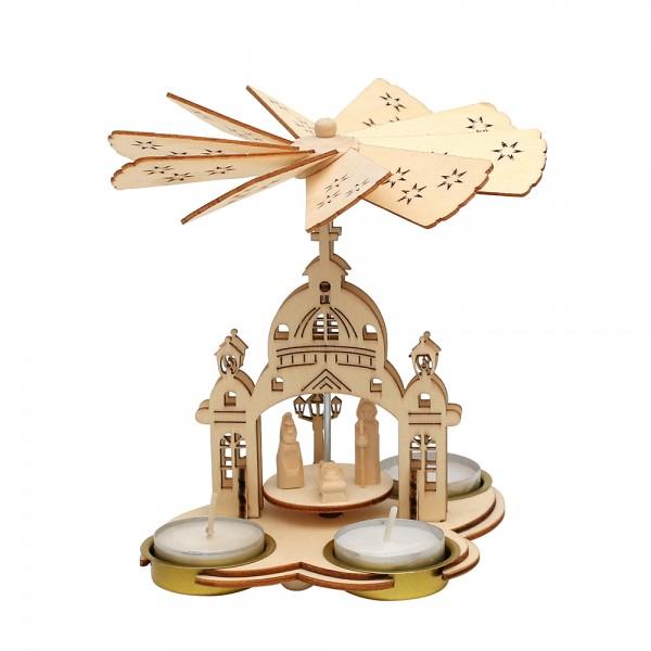 Holz Teelichtpyramide Kirche (Laserholz) mit Heiliger Familie geschnitzt 15 x 11,5 x 16,5 cm