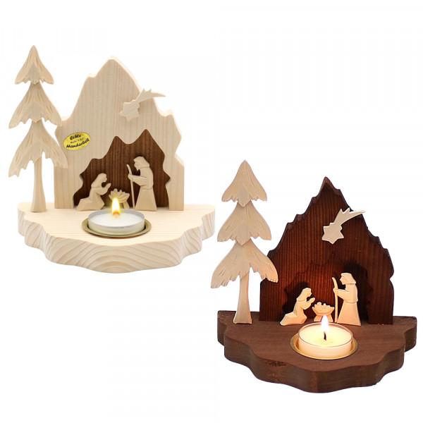 Holz Krippe Heilige Familie klein mit Teelichthalter (Flachschnitzerei), natur/braun 2-fach sort. 14 x 9 x 14 cm im Set