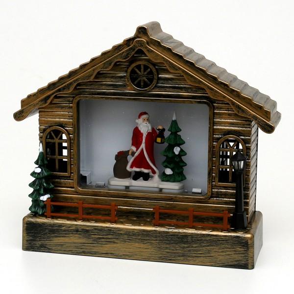 Acryl LED Haus, mit Santa, gold 23 x 9 x 26 cm Batteriebetrieb AA, Netzanschluss 5 V, LED, Glitterwirbel, Sound