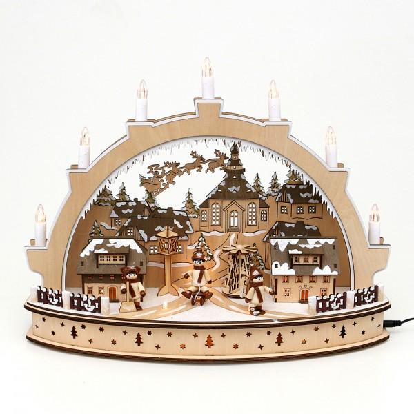Holz Schwibbogen Seiffener Weihnacht mit drehender Pyramide & Schlittenkinder (Laserholz) 45 x 15 x 34 cm Batteriebetrieb AA, inkl. Adapter 4,5 V, LED, Bewegung