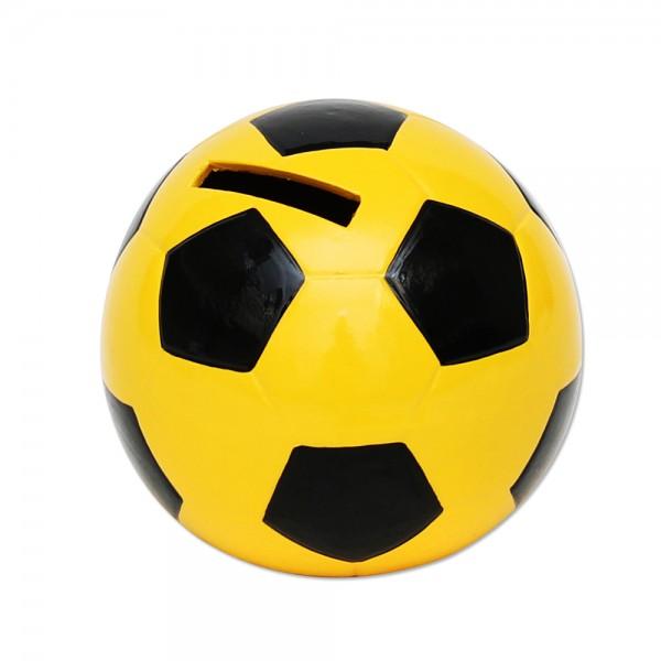 Keramik Spar-Fußball, gelb/schwarz 10 x 10 x 10 cm